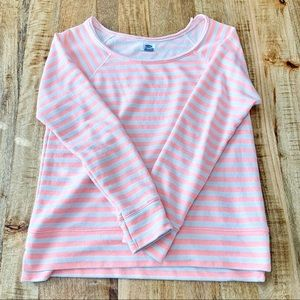 Old Navy Pink & White striped sweater
